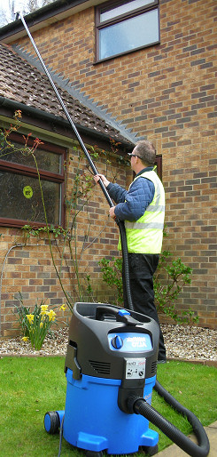 Vacuum cleaning gutters for residential customers in Gillingham and Cuxton